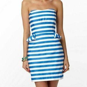 Lilly Pulitzer Maybell Blue Stripe Peplum Dress